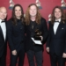 LOS ANGELES, CA - FEBRUARY 12:  (L-R) Chair of the Board for The Recording Academy John Poppo, musicians Kiko Loureiro, Dave Mustaine, David Ellefson and Dirk Verbeuren of band Megadeth at the Premiere Ceremony during the 59th GRAMMY Awards at Microsoft Theater on February 12, 2017 in Los Angeles, California.  (Photo by Randy Shropshire/WireImage)