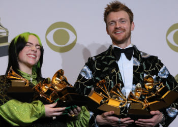"62nd Grammy Awards – Photo Room– Los Angeles, California, U.S., January 26, 2020 – Billie Eilish and Finneas O'Connell pose backstage with her awards to include Song of the Year for ""Bad Guy"" , Best New Artist, and Album of the Year for  ""When We All Fall Asleep, Where Do We Go?"". REUTERS/Monica Almeida"